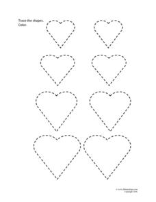 Trace and Color: Hearts Worksheet