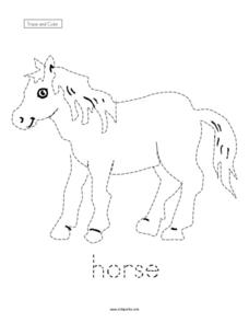 Trace and Color: Horse Worksheet