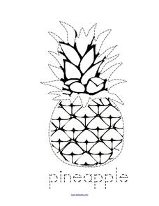 Trace and Color: Pineapple Worksheet