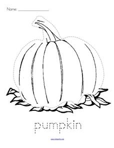 Trace and Color: Pumpkin Worksheet