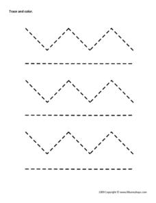 Trace And Color Zig Zags Worksheet