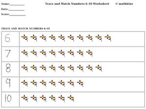 Trace and Match Numbers Worksheet