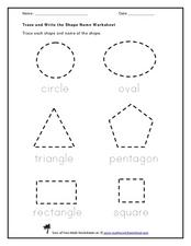 Printables Trace Name Worksheets trace and write the shape name kindergarten 1st grade worksheet worksheet