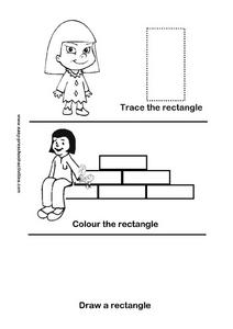 Trace, Color, and Draw a Rectangle Worksheet