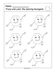 Trace the Dancing Hexagons Worksheet