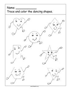Trace the Dancing Shapes Worksheet