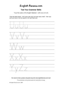 Trace the Letters of the English Alphabet Letters Uu To Zz Worksheet