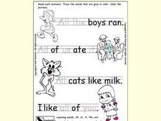 Trace the Words to Complete a Sentence Worksheet