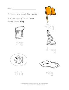 Trace Words that Rhyme with FLAG Worksheet