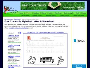 Traceable Alphabet Letter B Worksheet Worksheet