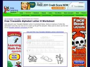 Traceable Alphabet: Letter H Worksheet Worksheet