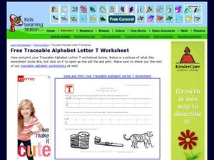 Traceable Alphabet Letter T Worksheet Worksheet