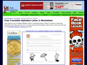 Traceable Alphabet: Letter U Worksheet Worksheet