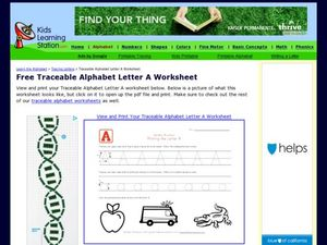 Traceable Letter Aa Worksheet Worksheet