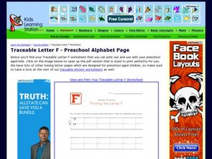 Traceable Letter F - Preschool Alphabet Page Worksheet