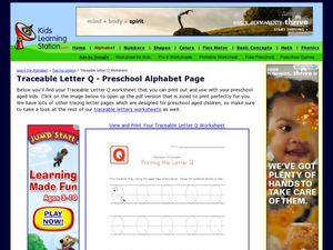Traceable Letter Q - Preschool Alphabet Page Worksheet