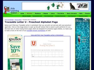 Traceable Letter U - Preschool Alphabet Page Worksheet