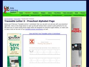 Traceable Letter X - Preschool Alphabet Page Worksheet