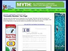 Traceable Number Ten Page Worksheet