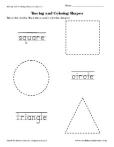 Tracing and Coloring Shapes Worksheet