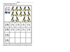 Tracing and Writing Number 14 Worksheet