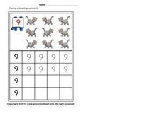 Tracing and Writing Number 9 Worksheet