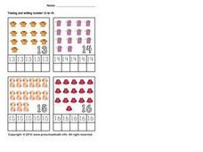 Tracing and Writing Numbers 13 to 16 Worksheet