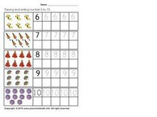 Tracing and Writing Numbers Six To Ten Worksheet