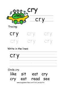Tracing: Cry Worksheet