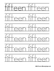 "Tracing ""Fifteen"" Worksheet"