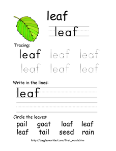 Tracing First Words - Leaf Worksheet