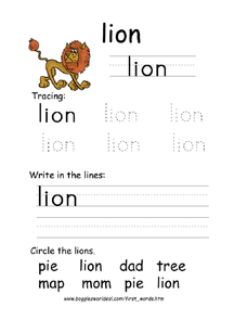 Tracing First Words - Lion Worksheet