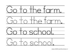 "Tracing ""Go To The Farm"" Worksheet"