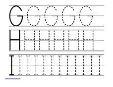 Tracing Letters: g, h, i Worksheet