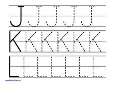 Tracing Letters: j, k, l Worksheet