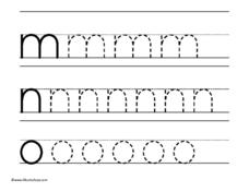Tracing Letters M, N, O Worksheet