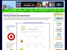 Tracing Lines Worksheet: Tracing Curved Lines Worksheet