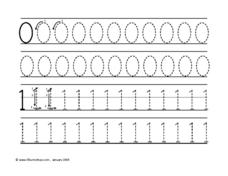 Tracing Numbers 0 & 1 Worksheet
