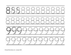 Tracing Numbers 8 & 9 Worksheet