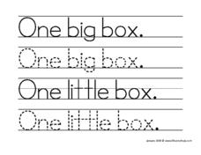 "Tracing ""One Big Box"" and ""One Little Box."" Worksheet"