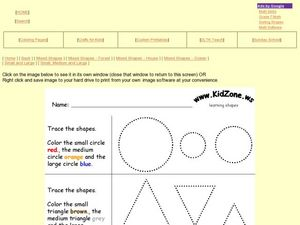 Tracing Shapes and Coloring Them Worksheet