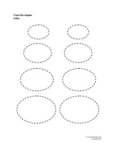 Tracing Shapes: Ovals Worksheet