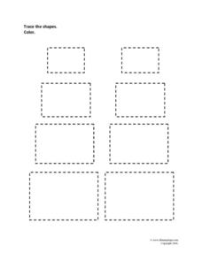 Tracing Shapes: Rectangles Worksheet