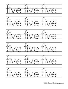 "Tracing the Word ""Five"" Worksheet"