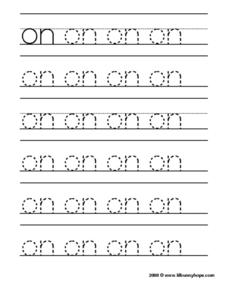 "Tracing the Word ""On"" Worksheet"