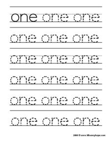 "Tracing the Word ""One"" Worksheet"