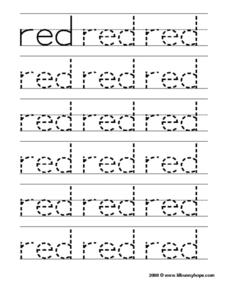 "Tracing the Word ""Red"" Worksheet"