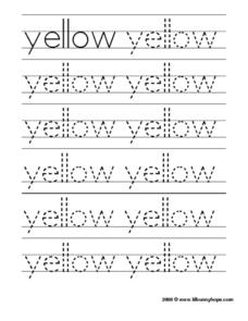 "Tracing the Word ""Yellow"" Worksheet"