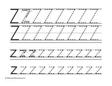 Tracing Upper and Lower Case Letter Zz Worksheet