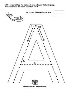Tracing Upper Case Letter A: Airplane Landing Strip Worksheet